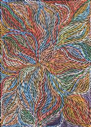 Sale 8374 - Lot 512 - Jeannie Petyarre (c1956 - ) - Bush Yam Leaves 97 x 71cm
