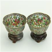 Sale 8393B - Lot 23 - Plique a Jour Pair of Bowls on Stands