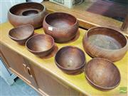 Sale 8451 - Lot 1024 - Collection of Turned Rosewood Serving Bowls