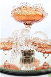 Sale 8630 - Lot 4 - Peach Coloured Glass Epergne