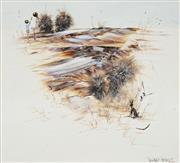 Sale 8732 - Lot 583 - Richard Bogusz (1947 - ) - Outback Landscape with Two Figures 49.5 x 54.5cm
