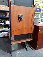 Sale 8908 - Lot 1001 - Vintage Australian Teak Bar Unit with Drop Front and Mirrored Interior