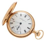 Sale 9046 - Lot 360 - AN ANTIQUE 14CT GOLD LADYS ELGIN POCKET WATCH; white enamel dial with Roman numerals subsidiary seconds dial and blued hands on a 7...