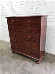 Sale 9068 - Lot 1056 - Victorian Mahogany Chest Of Six Drawers, with timber knobs & turned feet (H134 x 119 x 54cm)