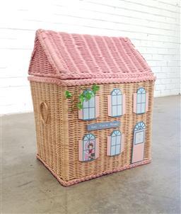 Sale 9146 - Lot 1053 - Wicker dolls house form hamper (h:56 x w:45 x d:35cm)
