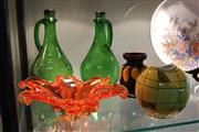Sale 8304 - Lot 67 - Murano Art Glass Centrepiece with Handpainted European Ceramics & Two Green Glass Jugs