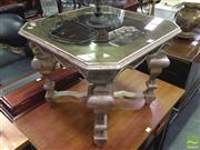 Sale 8412 - Lot 1053 - Carved Timber Side Table with Glass Top