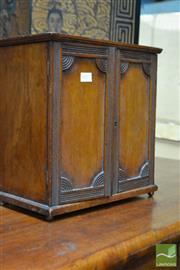 Sale 8460 - Lot 1022 - Late Victorian Mahogany Apprentice Cabinet, with architrave & two doors enclosing three drawers (architrave & keys in office)