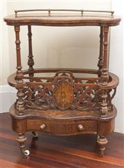 Sale 8470H - Lot 21 - A Victorian burr walnut and marquetry Canterbury whatnot with low brass gallery, tuned supports and pierced dividers above a drawer...
