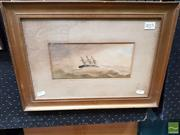 Sale 8491 - Lot 2015 - Artists Unknown - C19th Nautical Scene 11 x 23cm (frame size: 31.5 x 43.5cm)