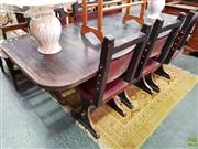 Sale 8601 - Lot 1454 - Spanish Style Dining Suite w Six Studded Red Leather Chairs