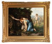 Sale 8804A - Lot 7 - Artist Unknown, XIX-XX Century - Possibly Echo & Narcissus or The Frog Prince 61cm x 76cm in a gilt frame