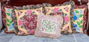 Sale 8804A - Lot 153 - Five embroidered cushions, the largest H 58 x W 58cm