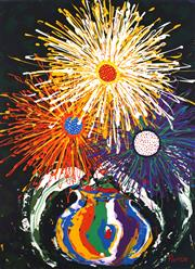 Sale 8825A - Lot 52 - Rebecca Pierce - Untitled (Sunburst Flowers) 122 x 91cm