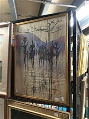 Sale 8836 - Lot 2016 - An Asian Batik, 57 x 43cm (frame), signed Kheng lower right