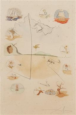 Sale 9141 - Lot 576 - Salvador Dali (1904 - 1989) - Twelve Tribes of Israel 50.5 x 36.5 cm (frame: 104 x 84 x 4 cm)