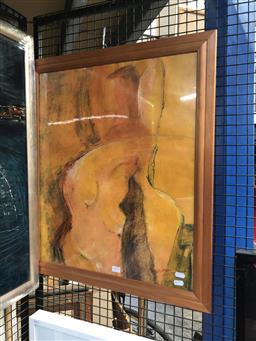 Sale 9155 - Lot 2094 - Charmaine Kumar  Nude oil on paper, frame: 70 x 59 cm, signed lower right -