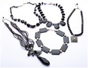 Sale 8550F - Lot 39 - A quantity of five, mainly black agate, costume jewellery beaded necklaces.