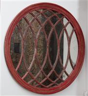 Sale 8782A - Lot 114 - An impressive red timber framed antiqued gothic revival circular mirror. Diameter 165cm x Depth 9cm