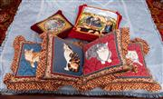 Sale 8804A - Lot 154 - A group of six tapestry cushions, to include four with cats and two of smocked red fabric, the largest H 43 x W 43cm