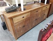 Sale 8934 - Lot 1058 - Elm Parquetry Sideboard with Three Drawers & Six Doors (H: 91 W: 200 D: 45cm)