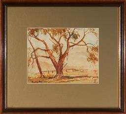 Sale 9127 - Lot 2060 - Anne Hedley Parsons (1870 - 1960) Misty Megalong Valley, 1934 watercolour 18 x 24 cm (frame: 39 x 43 x 2 cm) signed and dated lower ...