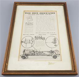 Sale 9137 - Lot 1065 - Vintage framed advertisement for Meccano (h:22 x w:13cm)