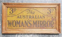Sale 9134 - Lot 1066 - Vintage tin Australian Womens Mirror sign (h:21 x w:40.5cm)