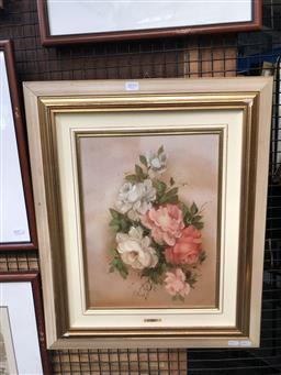 Sale 9139 - Lot 2059 - M Bonati White & Pink Roses, oil on board, frame: 61 x 51 cm , signed lower left