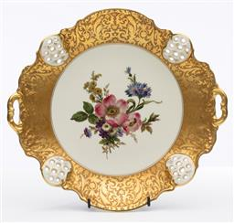 Sale 9245R - Lot 84 - A Rosenthal porcelain Moliere pattern lobe handled dish, C: 1950s, painted in the well with spring flowers to a gilt etched and pie...