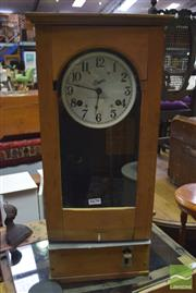 Sale 8317 - Lot 1045 - Early C20th Fruitwood Simplex Bundy Clock with Painted Dial & Glass Panel Door (Key in Office)