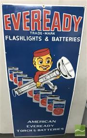 Sale 8435 - Lot 1030 - Enamel Eveready  American Eveready Sign 107cm x 46cm