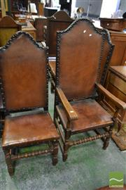 Sale 8460 - Lot 1090 - Set of Ten 17th Century Style Oak High Back Dining Chairs, upholstered in studded leather & on bobbin turned legs