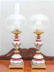 Sale 8470H - Lot 22 - A pair of Porcelain de Paris and brass mounted porcelain lamps with etched globular shades, total H 54cm, some damage