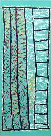 Sale 8786 - Lot 591 - Shorty Robertson Jangala (c1930 - 2014) - Water Dreaming 122 x 46cm (stretched and ready to hang)