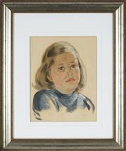 Sale 8838A - Lot 5174 - Artist Unknown - Portrait of a Young Girl 32 x 25cm
