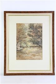 Sale 8852 - Lot 8 - Framed Watercolour By Howard Joseland (Fly Fisherman) (60cm x 47cm)