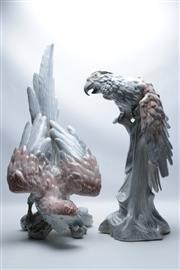 Sale 8864O - Lot 640 - A Mismatched Pair of Italian Pottery Figures of Parrots (H53cm & H64cm)