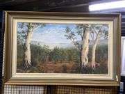 Sale 8906 - Lot 2024 - Elispeth Leabeater Framing the Jamieson Valley oil on canvas on board, 109.5 x 69.5 cm, signed lower left