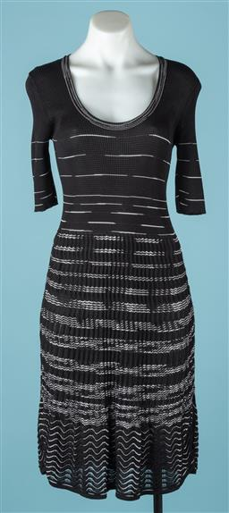 Sale 9092F - Lot 42 - A MISSONI KNEE LENGTH DRESS; in black and white, size 42