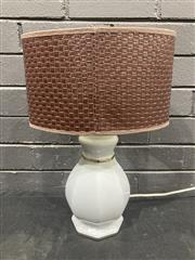 Sale 9051 - Lot 1055 - Ceramic Table Lamp with a Leather Shade (H:44cm)