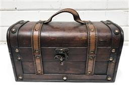 Sale 9108 - Lot 1037 - Timber lift top chest with leather handle (h:16 w:30 d:15cm)