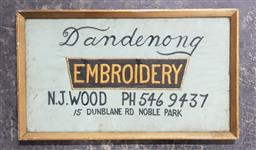 Sale 9134 - Lot 1067 - Vintage embroidery sign (h:23.5 x w:40cm)