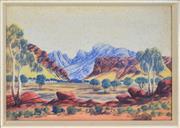 Sale 8297 - Lot 592 - Edwin Pareroultja (1918 - 1986) - Central Australian Landscape 37 x 53.5cm