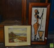 Sale 8522 - Lot 2062 - Gosto, Woman Pounding Grain & Artist Unknown, Landscape, Watercolour