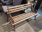 Sale 8601 - Lot 1215 - Pair of Timber and Metal Outdoor Bench