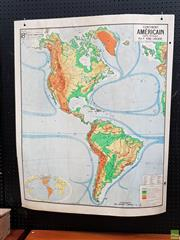 Sale 8625 - Lot 1082 - Vintage Cardboard Backed Double Faced Map of the Americas (120 x 100cm)