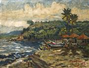 Sale 8704 - Lot 514 - Artist Unknown - Indonesian Village Scene by the Beach 68.5 x 88.5cm