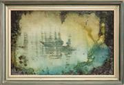 Sale 9071H - Lot 49 - Judy Chapman - Abstract lake scene signed lower left, dated indistinctly