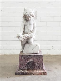 Sale 9126 - Lot 1035 - Possibly Antique Marble Funerary Ornament, of a barely clad kneeling angel with wings rested, about to present a wreath, raised on a...